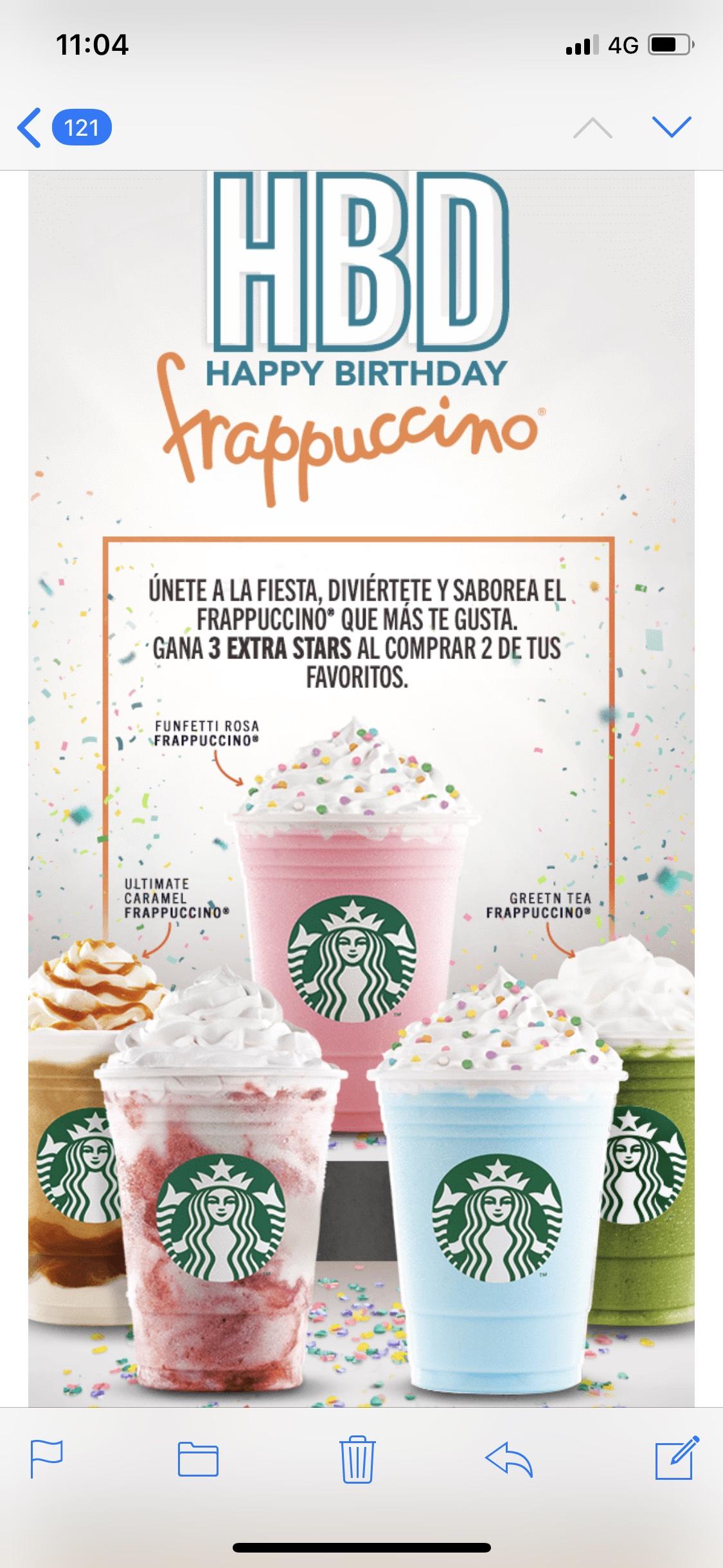Starbucks: 3 stars al comprar 2 frapuccinos