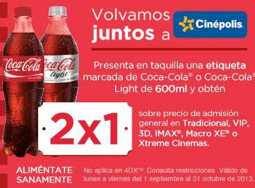 Cinépolis: 2x1 con Coca-Cola incluyendo 3D, VIP y IMAX