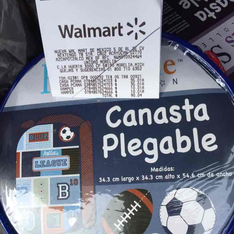 Walmart Morelia: canasta plegable $10.01