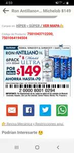 Soriana Ron antillano + six pack Michelob x$149.00
