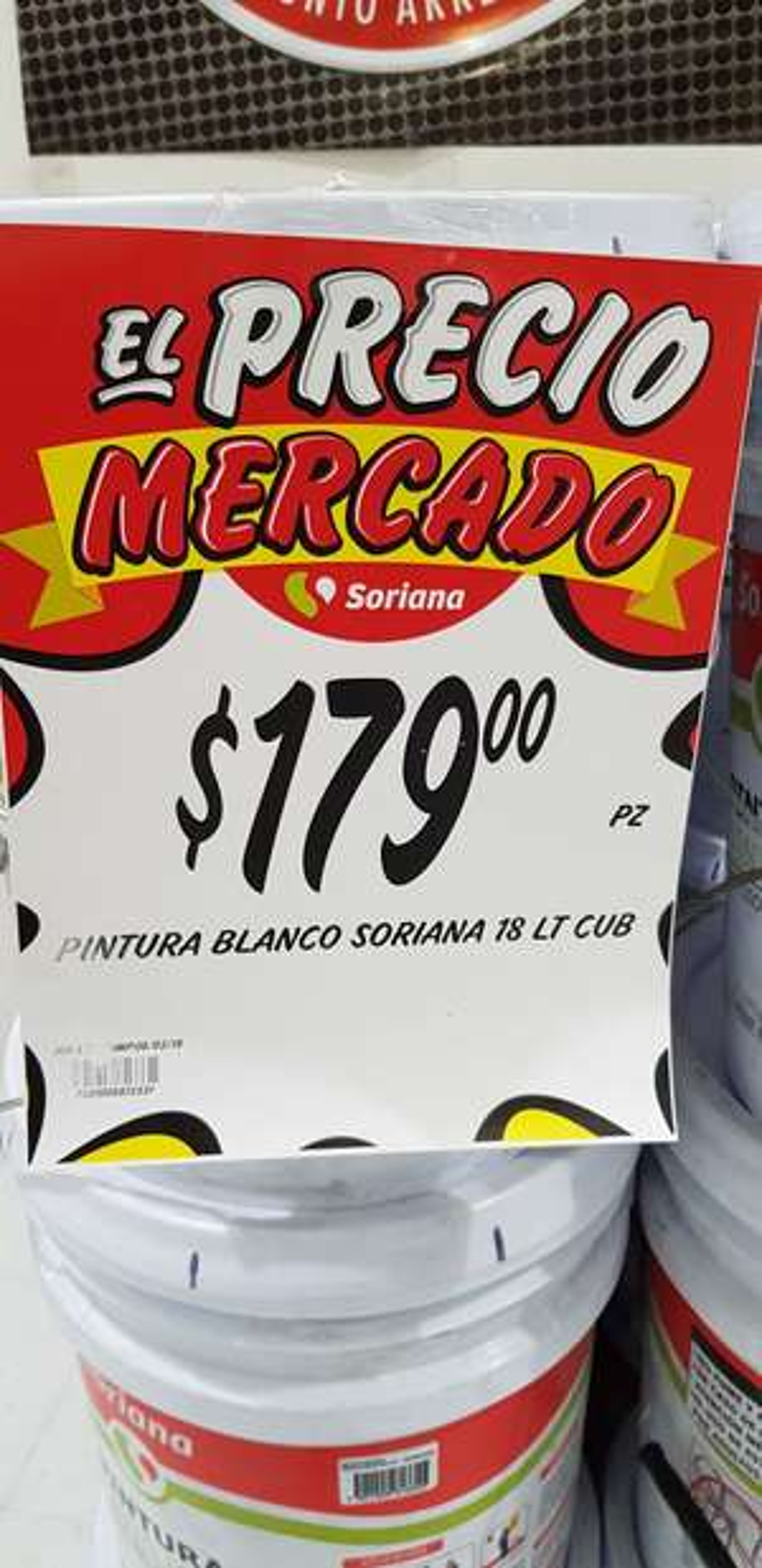 Soriana: Cubeta de pintura de 18 litros