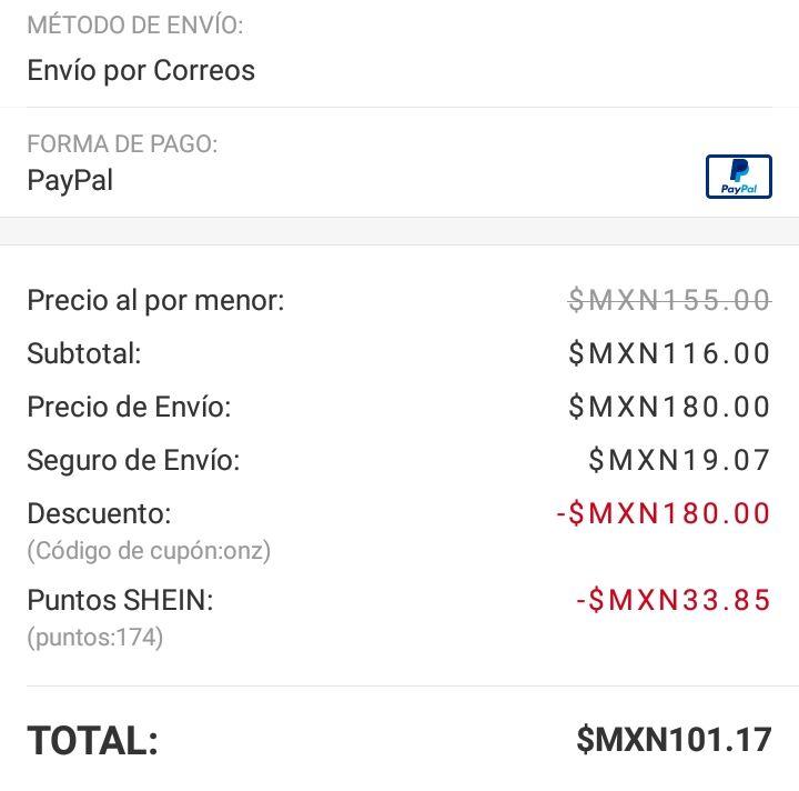 Shein: Cupón para envió gratis