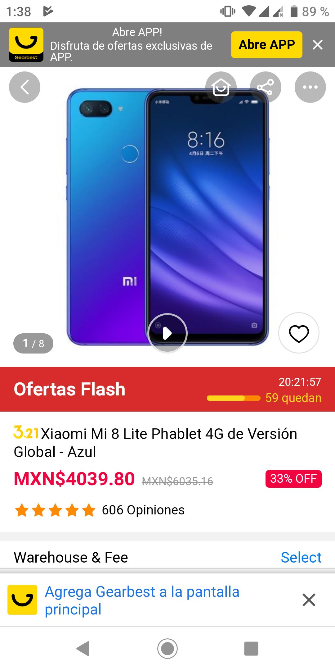 GearBest: Xiaomi mi 8 Lite