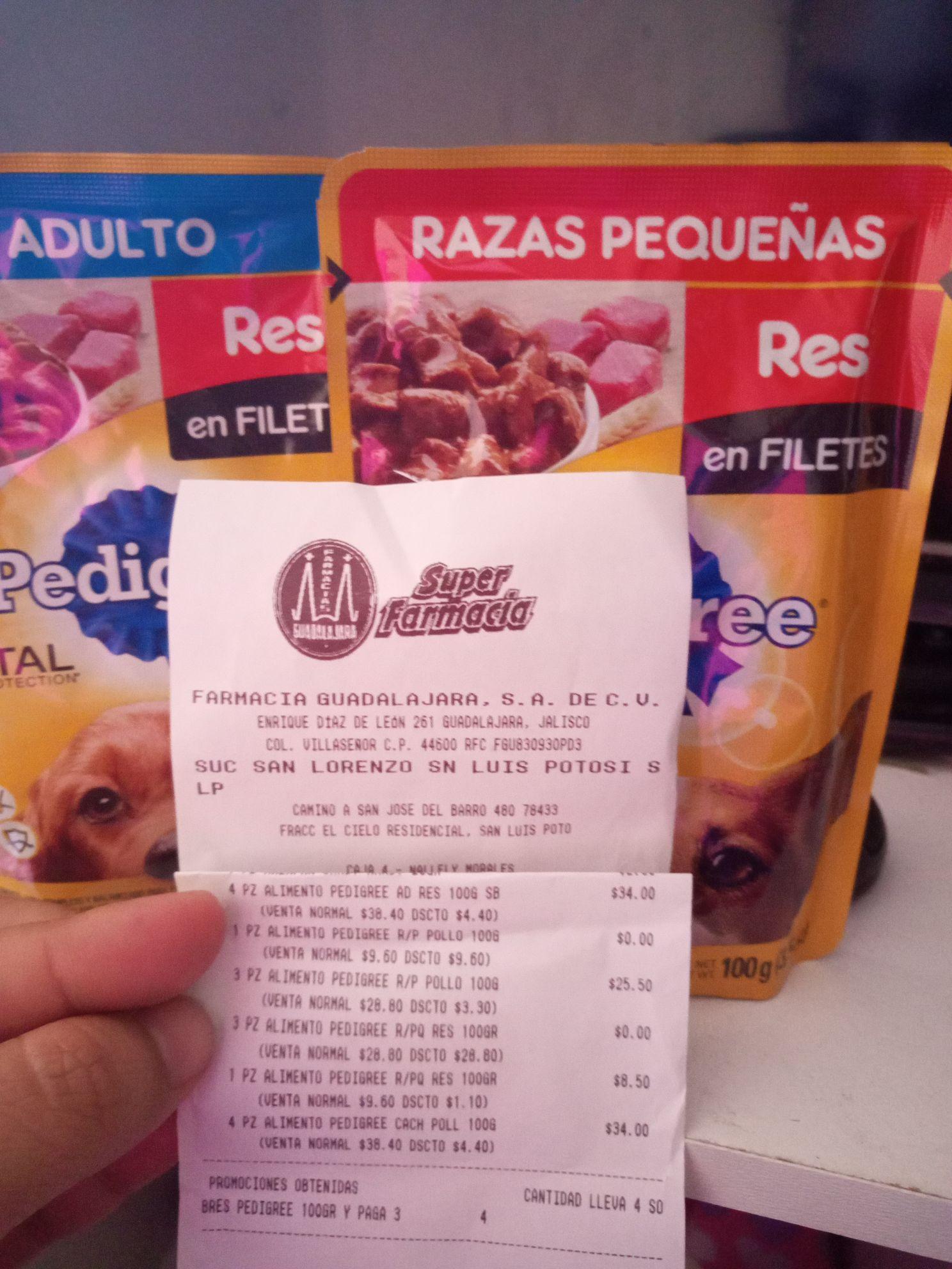 Farmacias Guadalajara: 4x3 en sobres de alimento pedigree