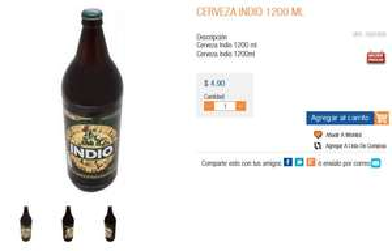 Chedraui Tecamac: Cerveza Indio 1.2 Lts a $4.90