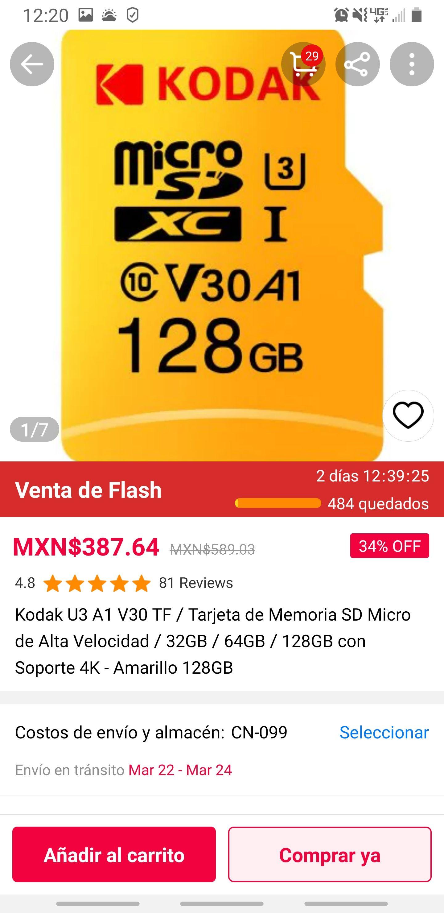 GearBest: Tarjetas micro sd Kodak
