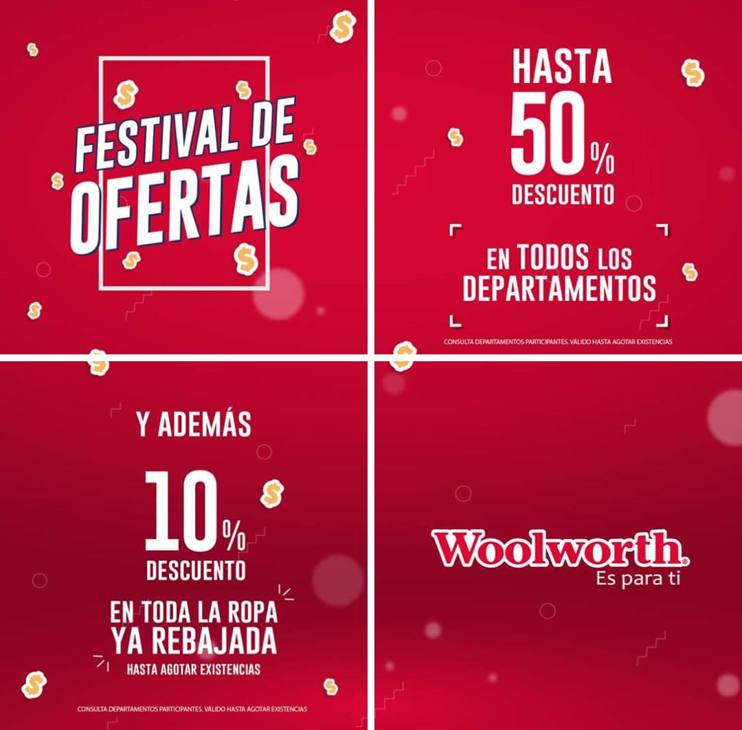 Woolworth: Festival de Ofertas: Hasta 50% desc. en todos los deptos... Y 10% de descuento en toda la ropa ya rebajada