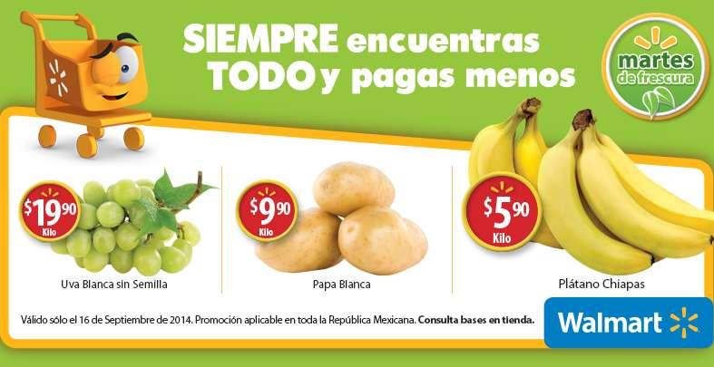 Martes de frescura en Walmart septiembre 16: plátano $5.90 el kilo y más