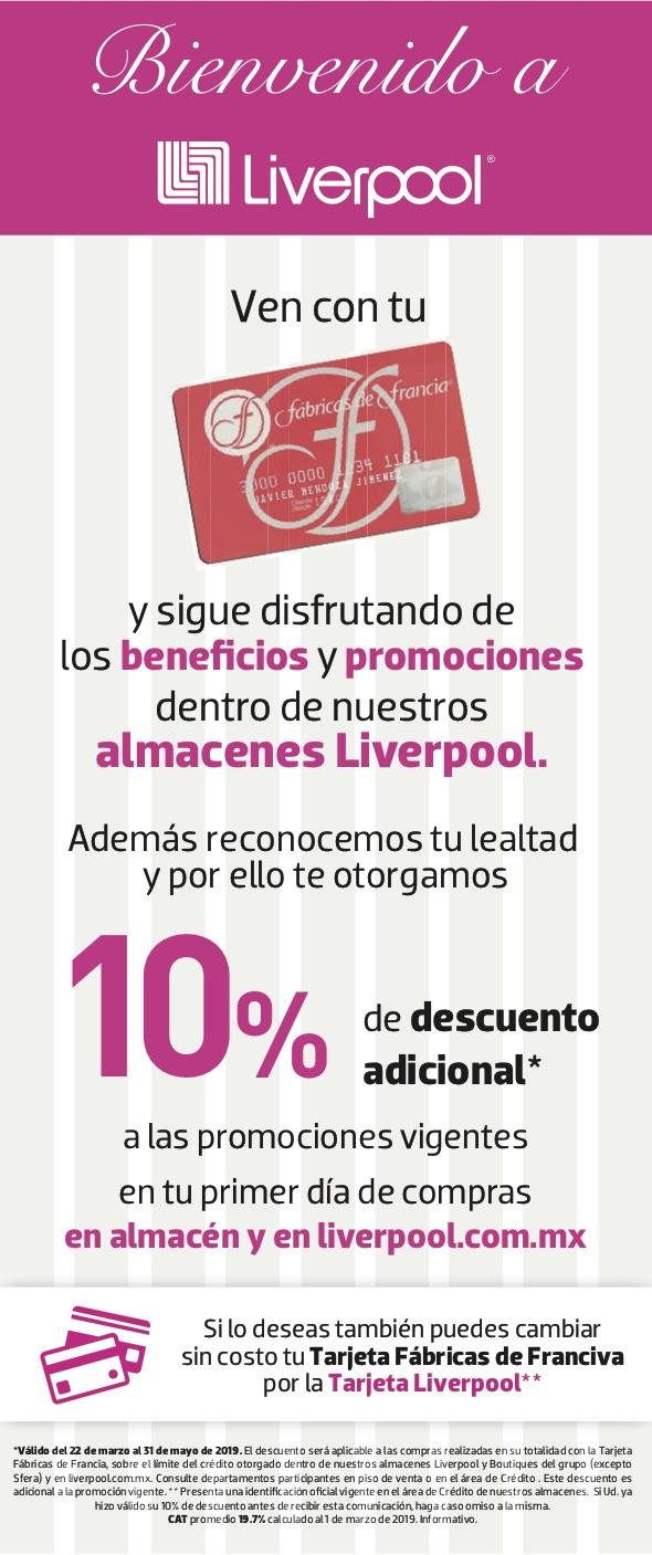 Liverpool: 10% de descuento con tarjeta Fábricas de Francia