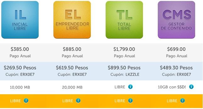 hospedando.mx: 30% de dcto. en planes de hospedaje (registro de dominio + hosting) por 1 año