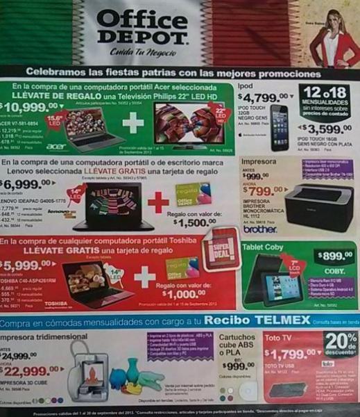 Folleto Office Depot septiembre 2013