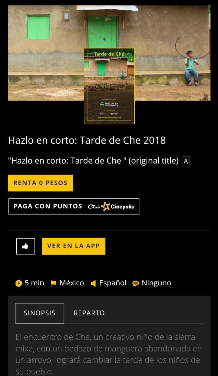 "Cinépolis Klic: Renta gratis ""TARDE DE CHE"""