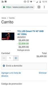 "Costco: Smart TV TCL 43"" 4K UHD"