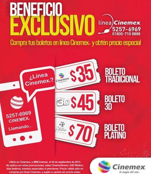 Cinemex: precio especial por teléfono para salas normales, 3D y Platino