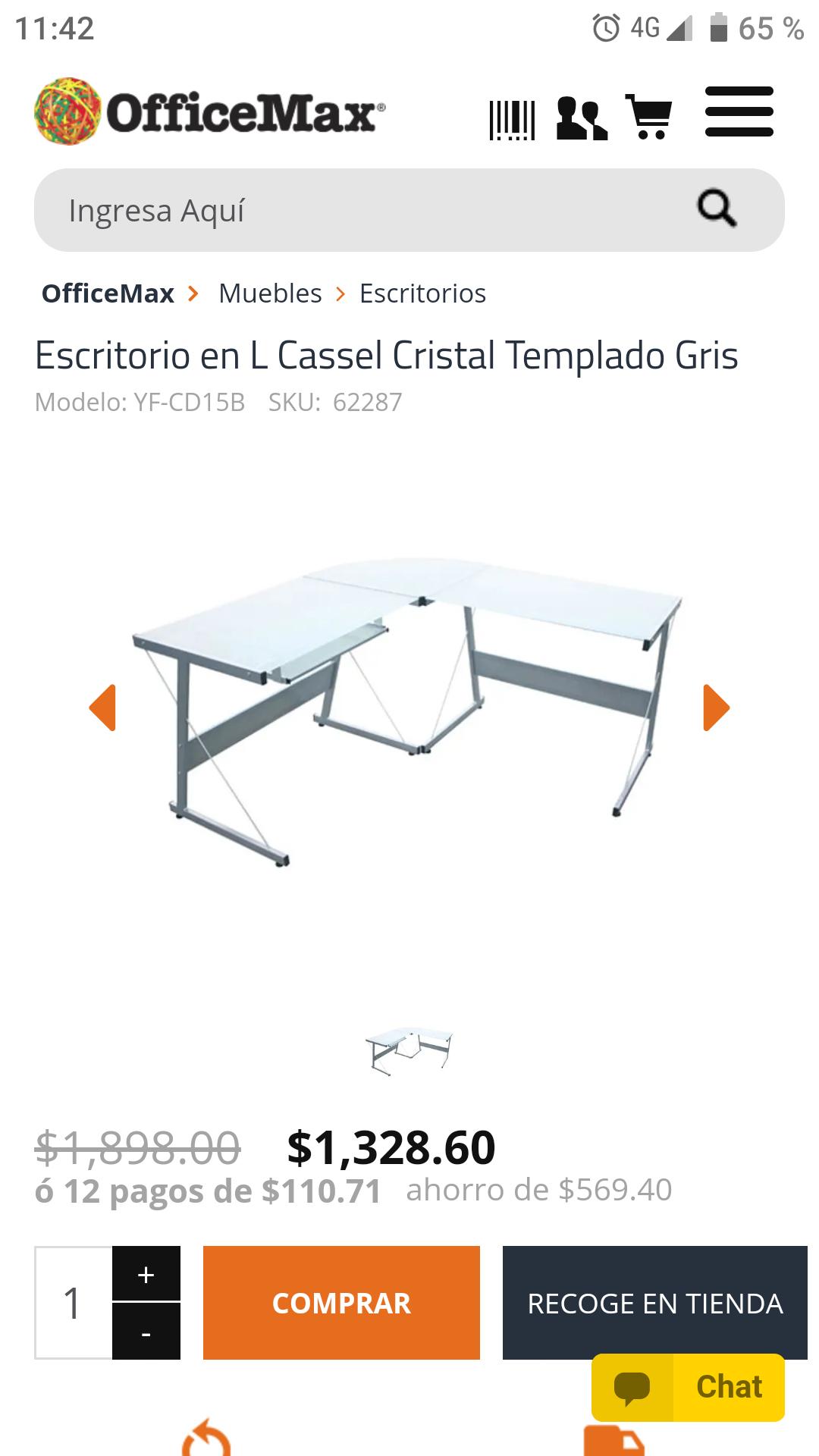 Office Max: Escritorio en L Cassel Cristal Templado Gris