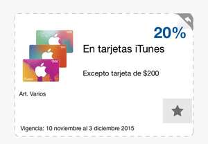 Tarjetas iTunes 20% en Sam's Club