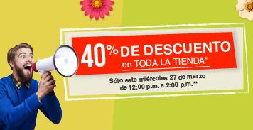 Tienda Mabe: 40% en toda la tienda mañana 27 de marzo