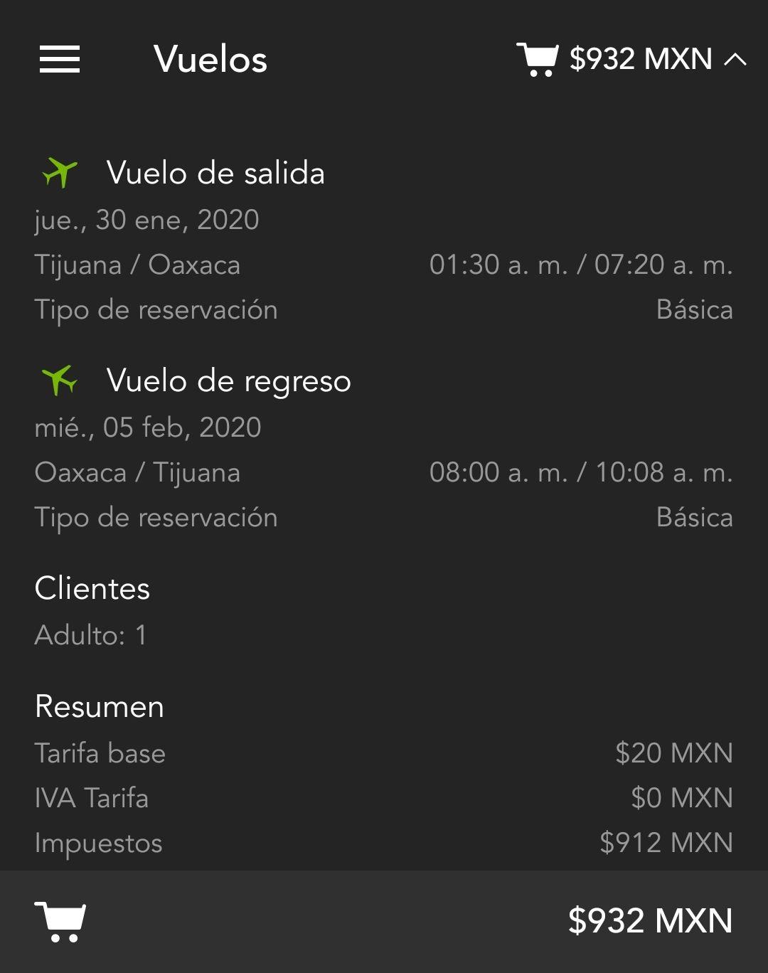 Volaris: Tijuana-Oaxaca redondo $912 pesos