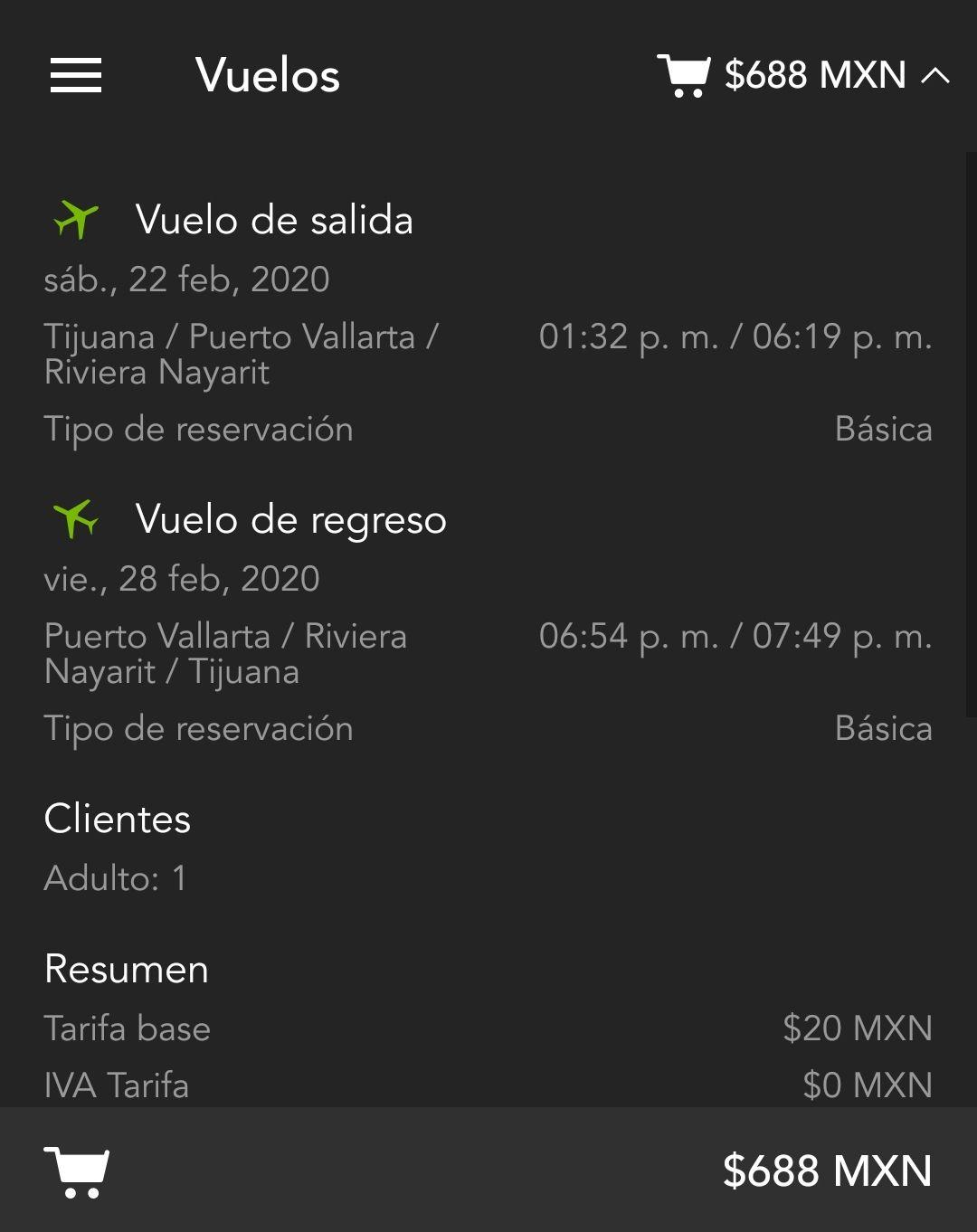Volaris: Tijuana-Puerto Vallarta $688 redondo