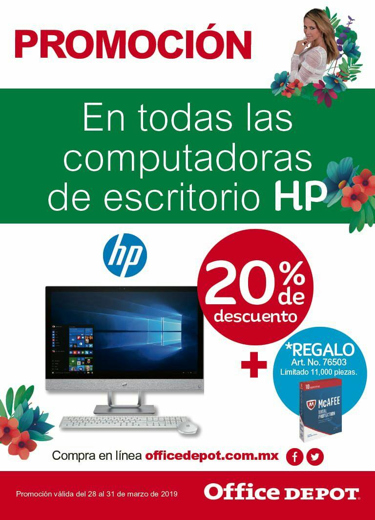 Office Depot: 20% de descuento en computadoras de escritorio HP (del 28 al 31 de marzo)