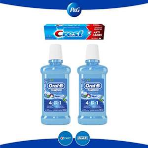 Amazon: Pack Oral B Complete Enjuague bucal 2 piezas 500 ml c/u + 1 pasta Crest Anticavity 120 ml