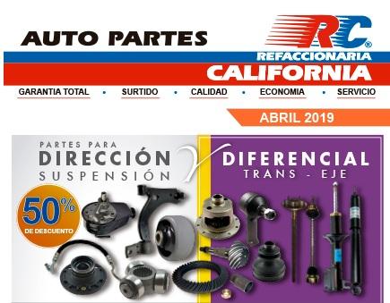 Refaccionaria California: 50% en direccion y suspencion para Abril