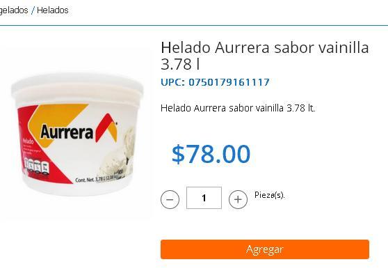 Walmart Online: 3.78 Litros de Helado de Vainilla