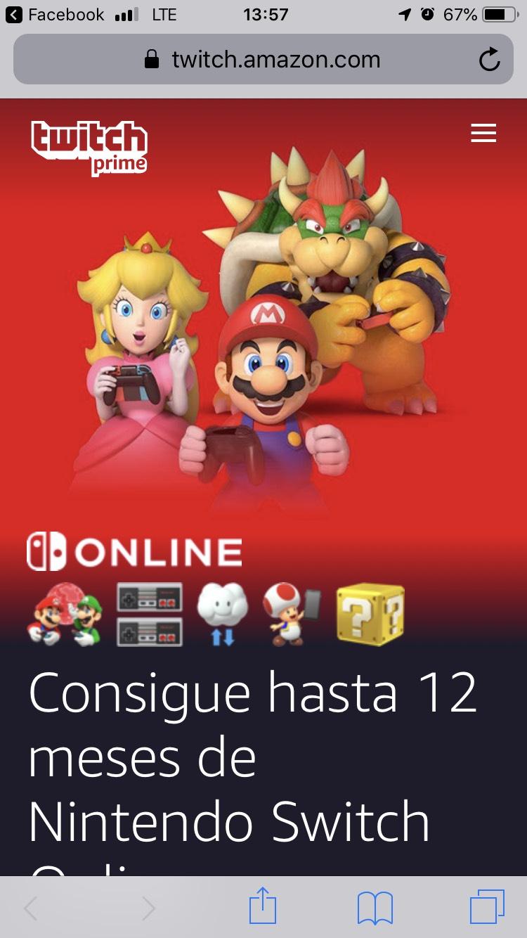 Nintendo Switch Online 12 meses gratis con membresía de Amazon Prime/Twitch Prime activa