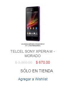 Best Buy: Telcel sony xperia m-morado $670 Solo en tienda.