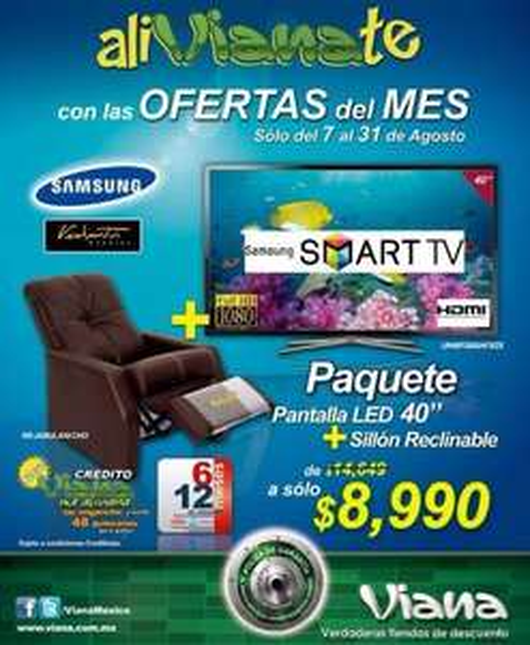 "Viana: LED Smart TV Samsung 40"" + sillón reclinable a $8,990"