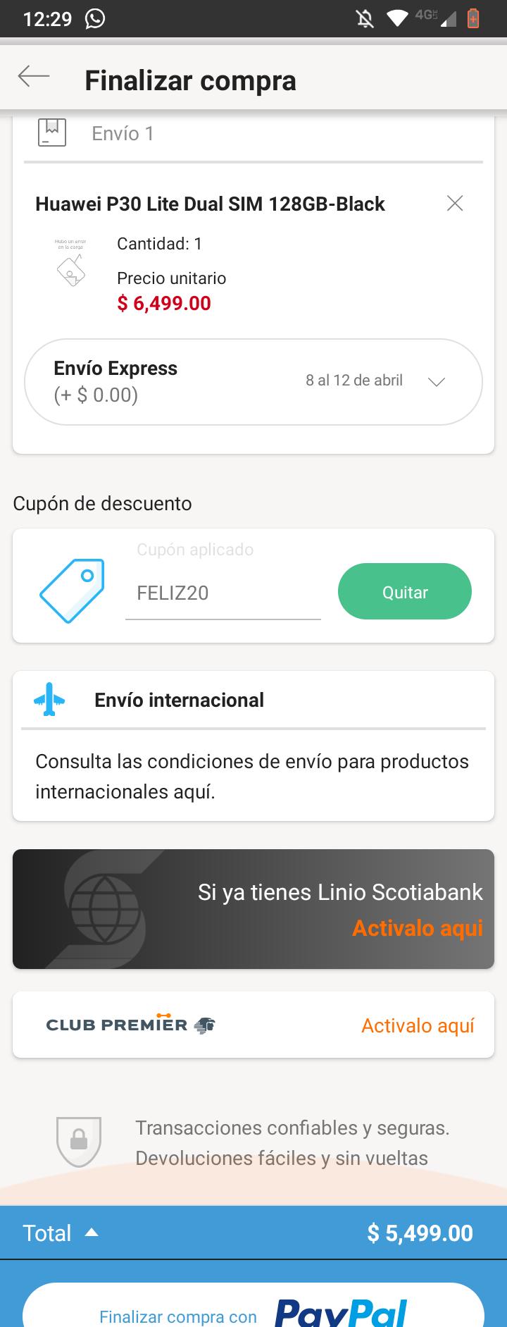Linio App: Huawei P30 Lite con cupón y PayPal (envío Internacional)