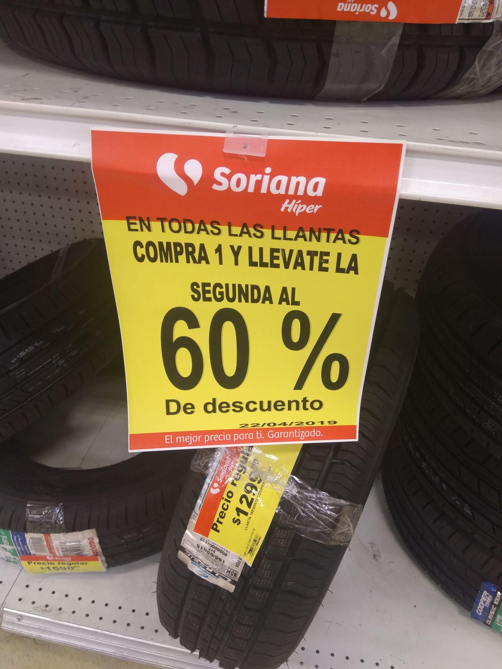 Soriana Híper: 60% de descuento en la segunda llanta