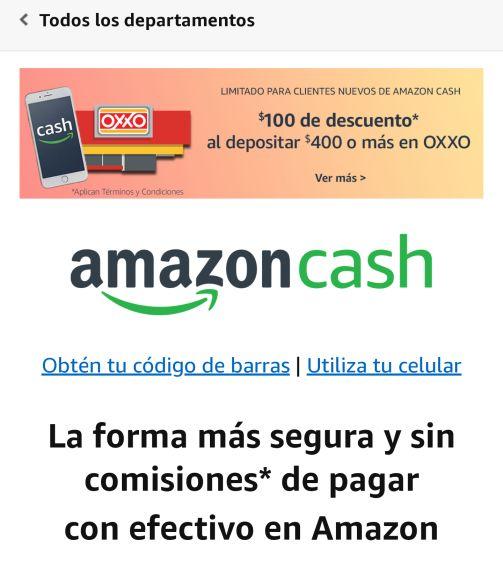 Amazon MX: $100 de descuento al depositar $400 o más en Oxxo (solo para nuevos usuarios)