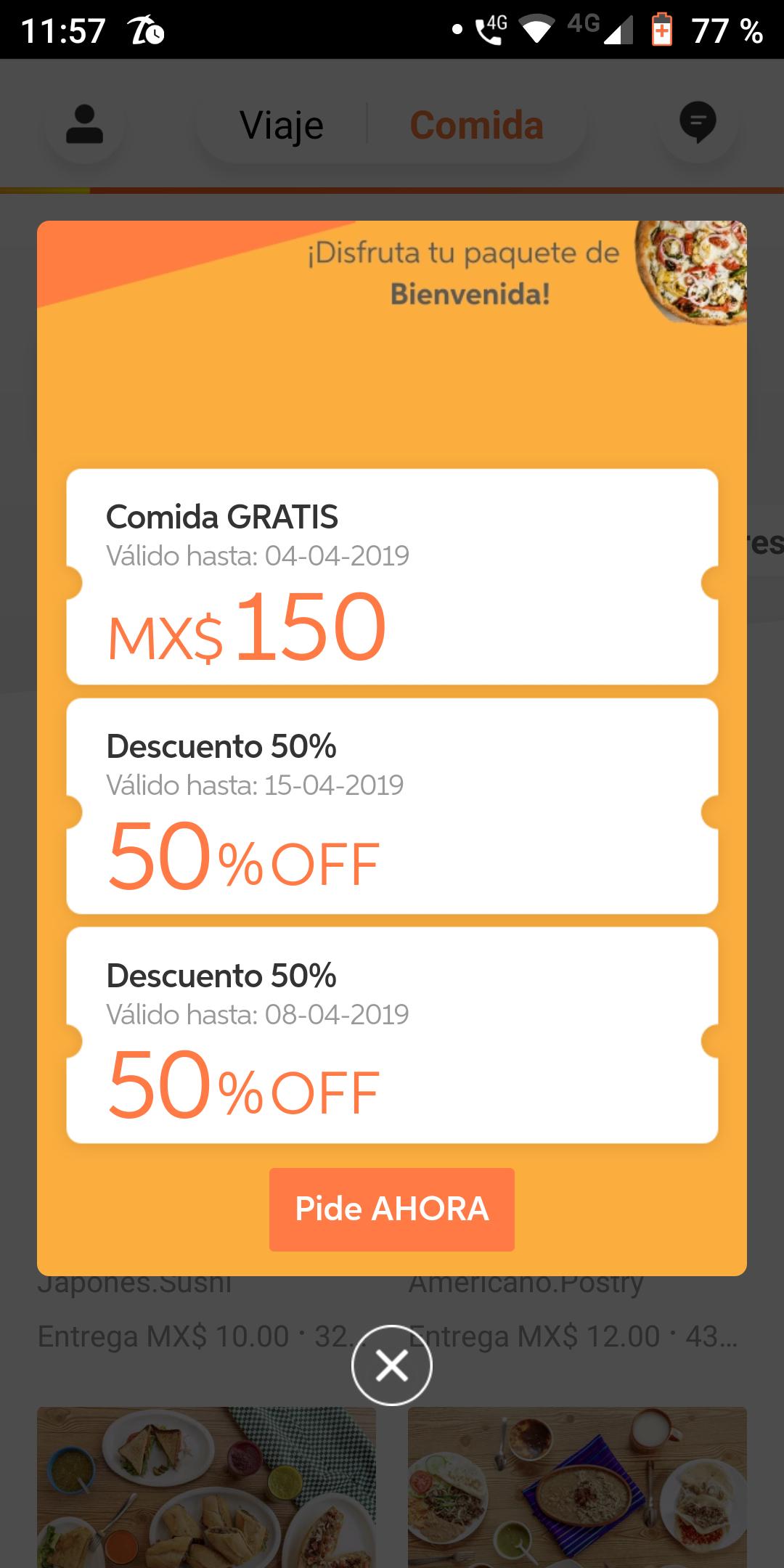 Didi Food: Cupón $150 y 2 de 50% (usuarios seleccionados)