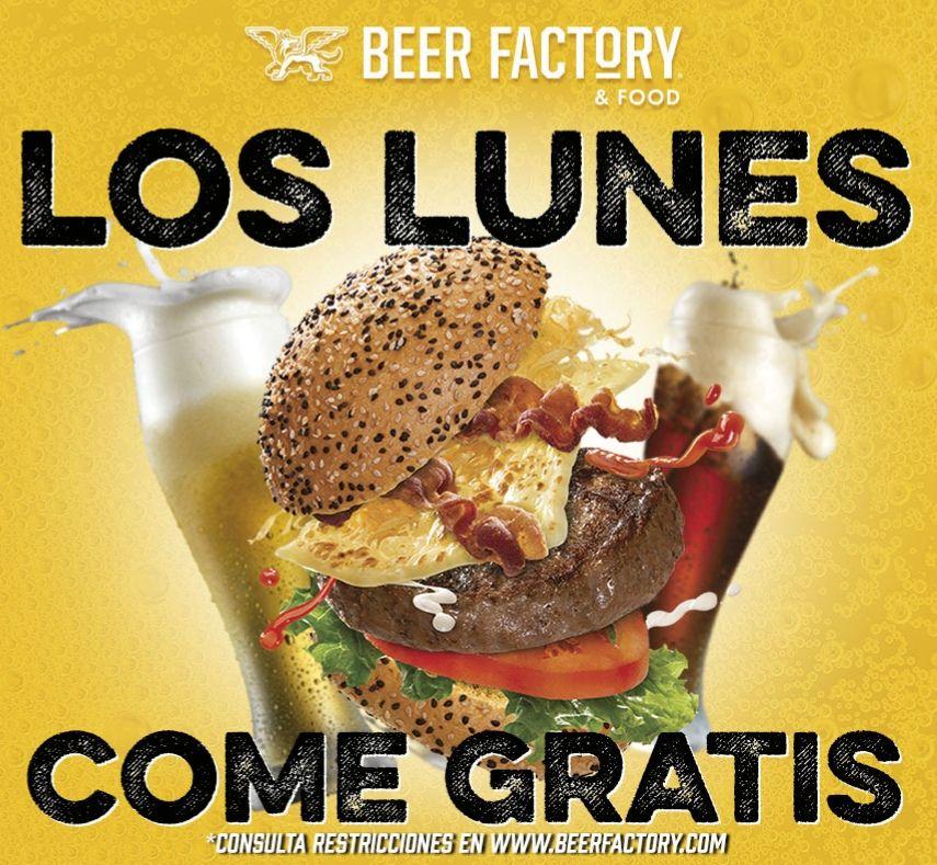 Beer Factory: Lunes comes gratis hasta Diciembre 2019