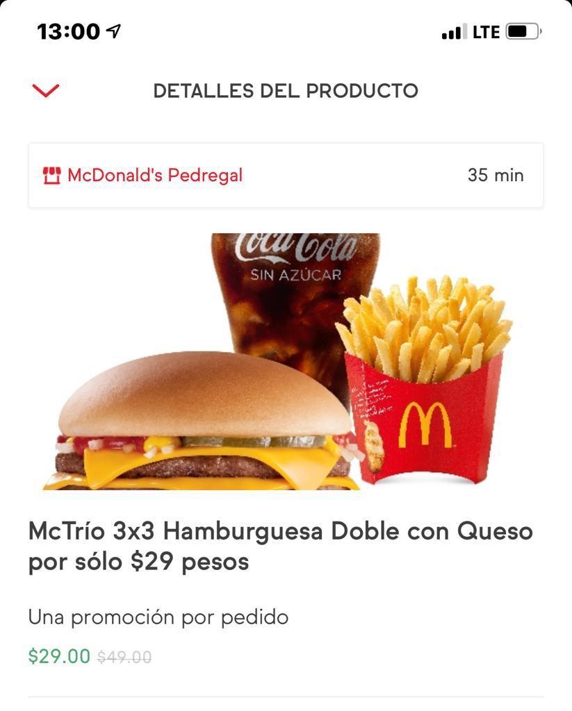 SinDelantal : McDonald's paquete de hamburguesa, papas y soda