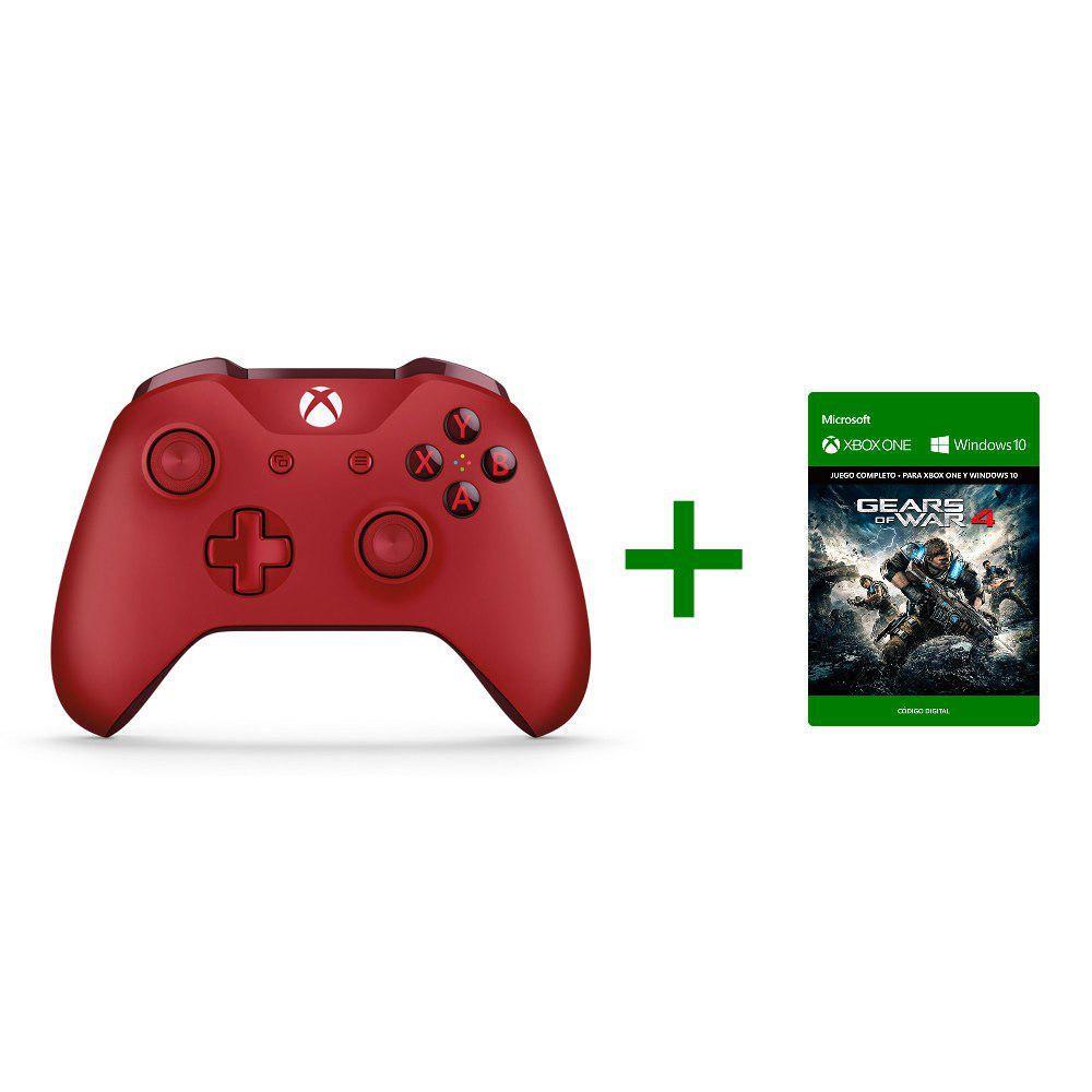 Elektra en línea: Control Xbox One color rojo + juego Gears of War 4