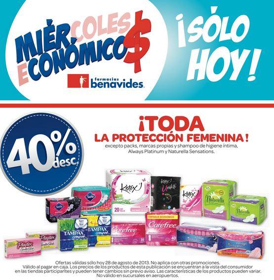 Farmacias Benavides: 40% de descuento en toda la protección femenina