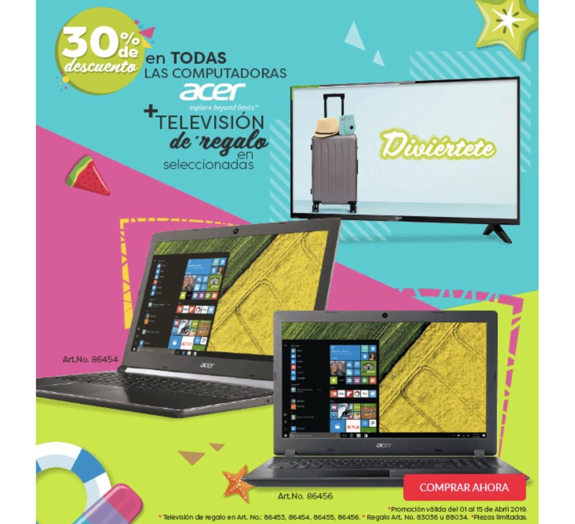 OFFICE DEPOT Laptops ACER CON 30% de DESCUENTO MAS UNA TV SELECCIONADA DE REGALO CON ENVIO GRATIS SIN MINIMO DE COMPRA