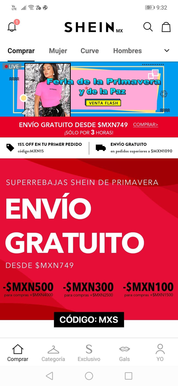 Shein: Rebajas + envío gratis