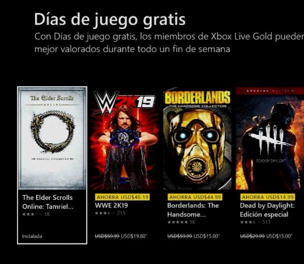 Xbox: Días De Juegos Gratis con Gold