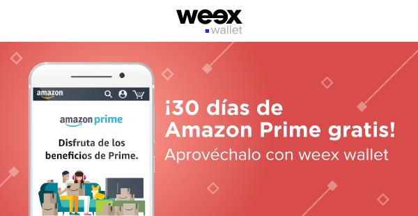 Weex Wallet: 30 días de Amazon Prime gratis (usuarios nuevos)