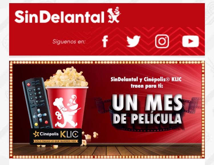 Sin Delantal: $100 por cada 5 pedidos y 30% OFF en Cinépolis KLIC