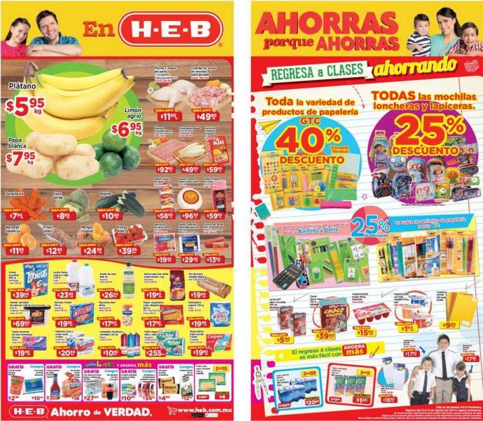 HEB: ofertas en frutas, verduras y útiles escolares