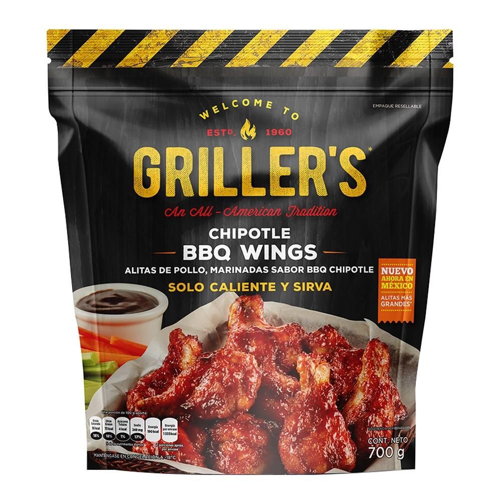 Superama: 2 paquetes Alitas de pollo Griller´s marinadas sabor BBQ chipotle 700 g