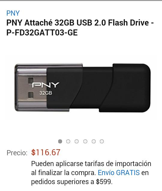 Amazon: Memoria USB PNY 32GB a $117
