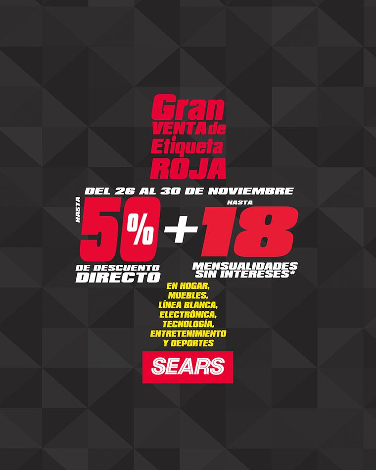 Gran Venta de Etiqueta Roja Sears: hasta 50% de descuento y 18 MSI