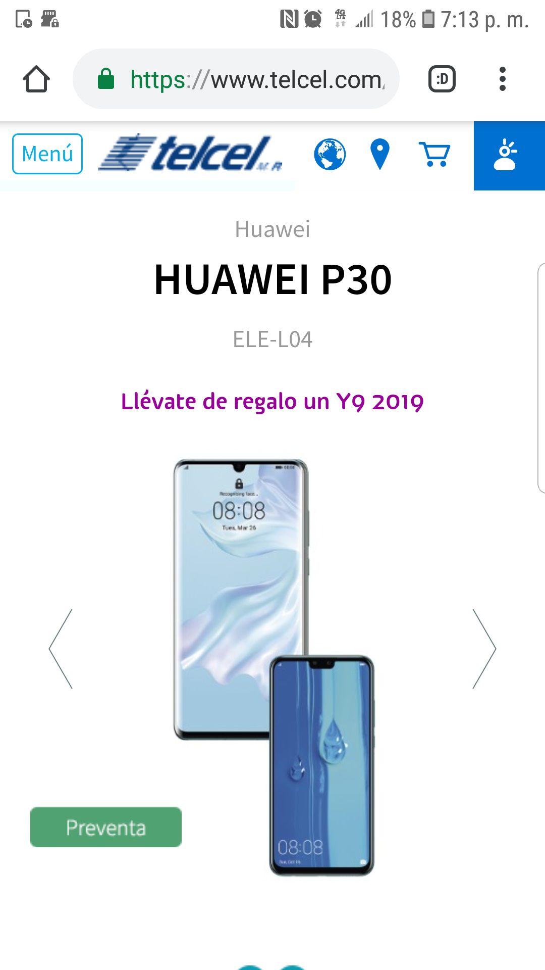Telcel: Huawei Y9 2019 de regalo en la compra de P30