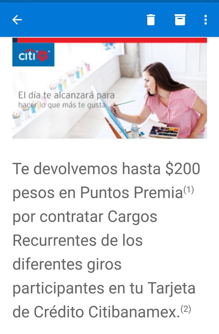 Citibanamex: hasta $200 (puntos premia) en devolución por domiciliar servicios