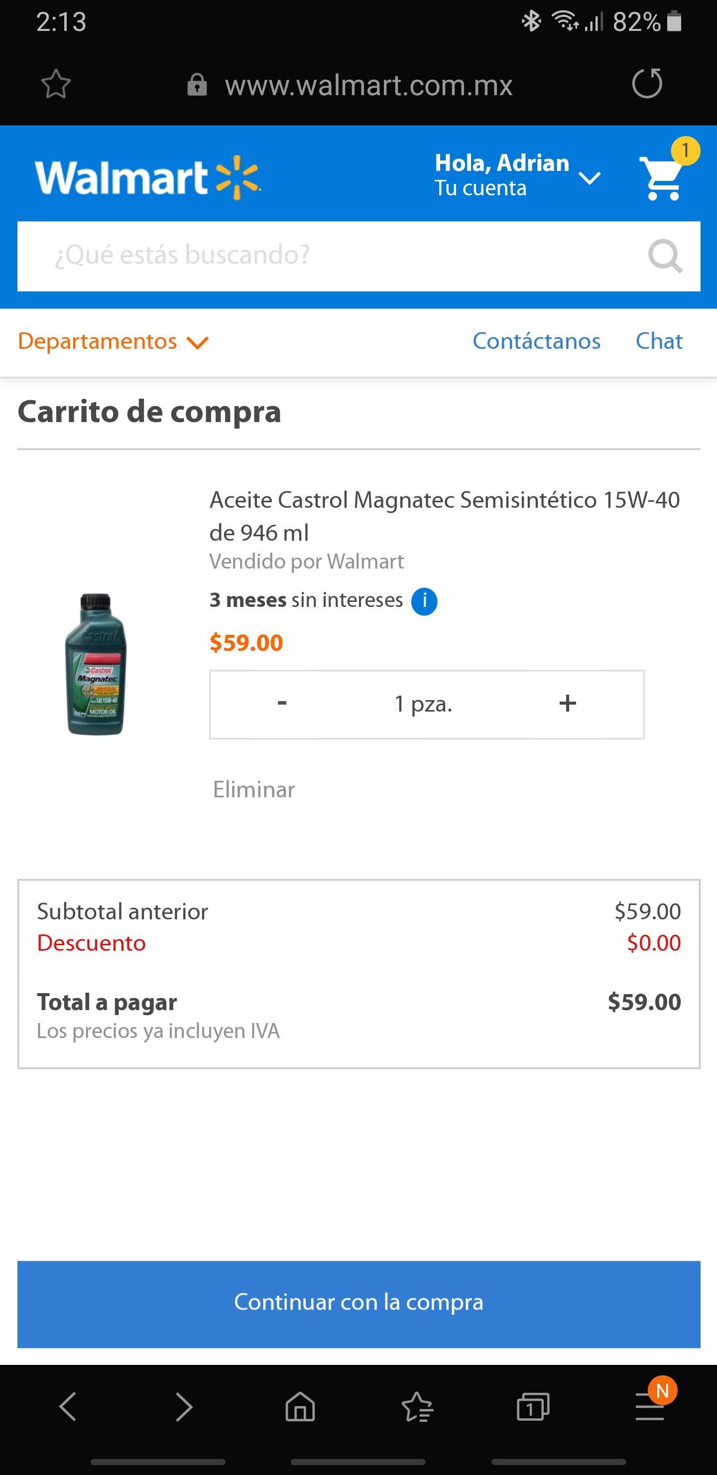Walmart en línea: Aceite Castrol Semisintetico 946ml